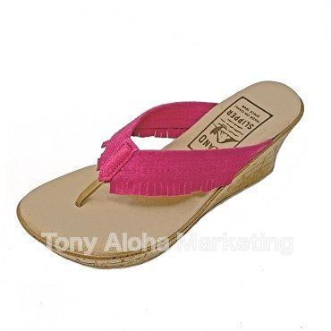 【Island Slipper】【Women's】Made in Hawaii フリンジピンクスウェード