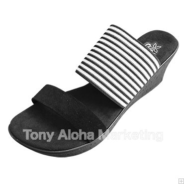 【Island Slipper】【Women's】Made in Hawaii  Black Stripe